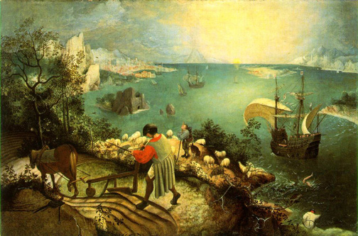 Pieter Bruegel, Landscape with the Fall of Icarus, c. 1558