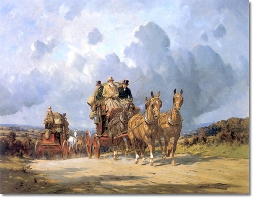 "George Wright, ""Mail Coaches on a Road"""