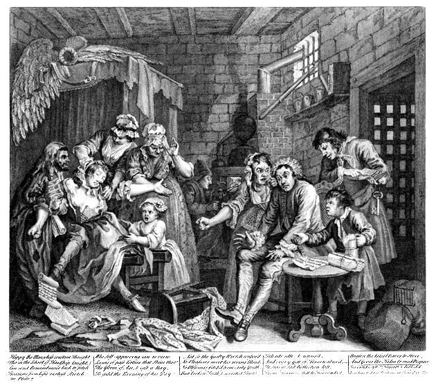"William Hogarth, ""Rake's Progress: Prison Scene"""
