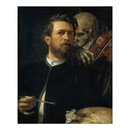 "Arnold Bocklin, ""Self Portrait with Death"""