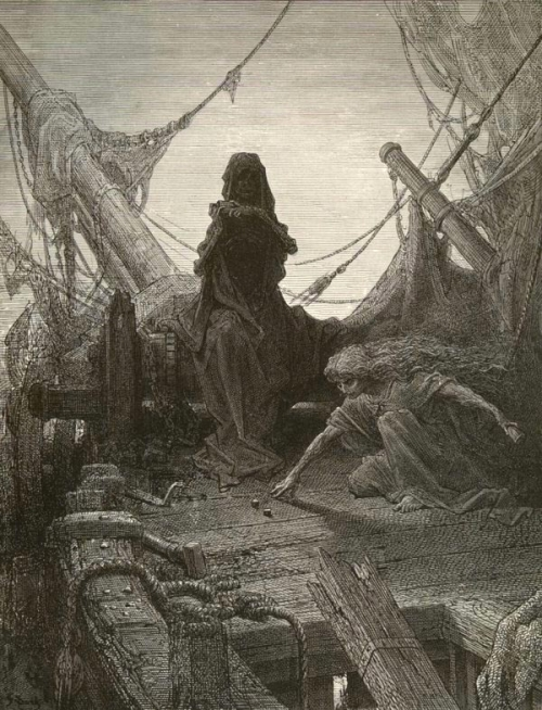 "Gustave Dore, Death and Death-in-Life"" playing dice"