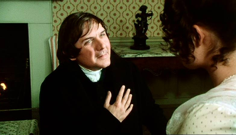 Mr. Collins (Bamber) proposes to Elizabeth Bennet (Ehle)