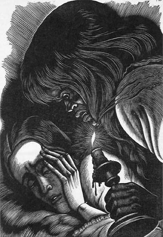 Eichenberg, wood engraving of Jane Eyre and Bertha Mason
