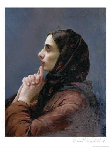 "Vasilij Ivanovic Surikov , ""Young Woman at Prayer"" c. 1879"