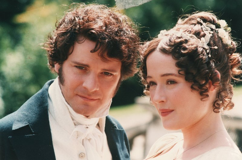 Firth and Ehle as Darcy and Elizabeth