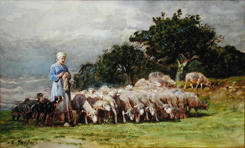 "Charles Emile Jacques, "" A Shepherdess with a Flock of Sheep"""