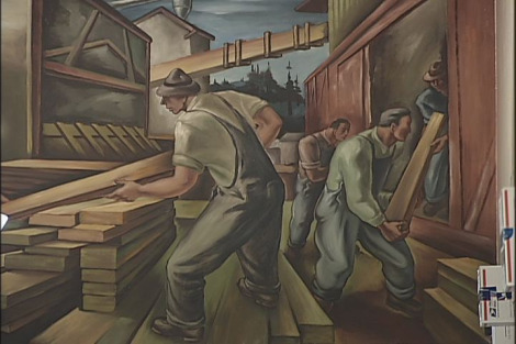 Depression era mural, Eugene, Oregon