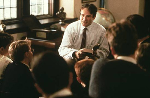 "Robin Williams as Keating in ""Dead Poets Society"""