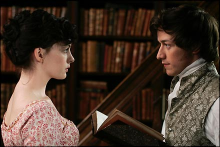 "Hathaway, McAvoy in ""Becoming Jane"""