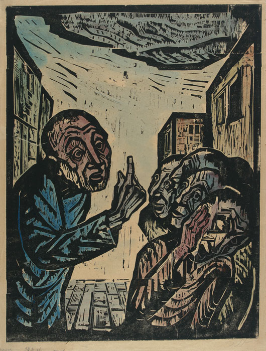 "Jakob Steinhardt, ""Jonah Preaches in Nineveh"" (1923)"