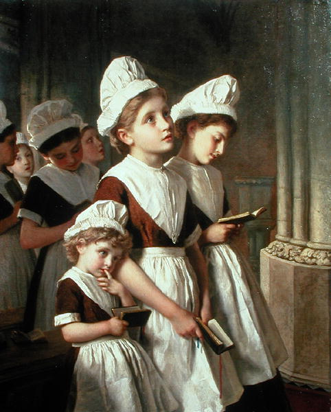 "Sophie Anderson, ""Foundling girls in their school dresses at prayer"" (1877)"