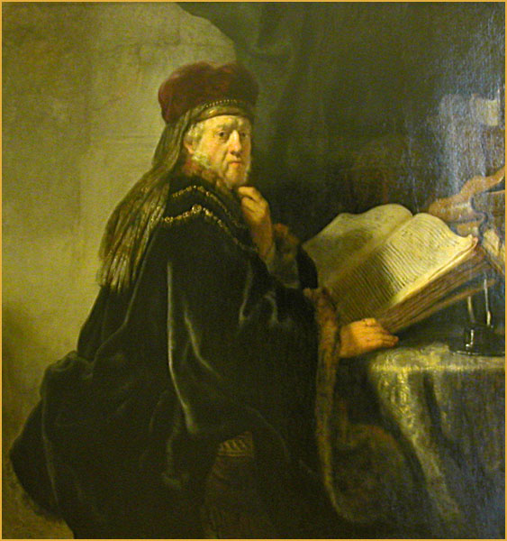 "Rembrandt, ""Scholar Seated at Table with Books"""