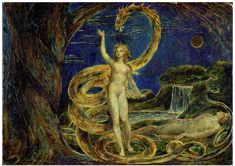 "William Blake, ""Eve Tempted by the Serpent"""