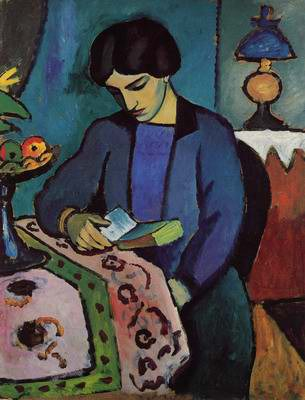 "Auguste Macke, ""Blue Girl Reading"""