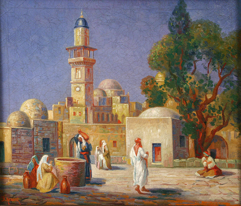 "Gustav Adolph Hensel, ""Painting of a Mosque"""
