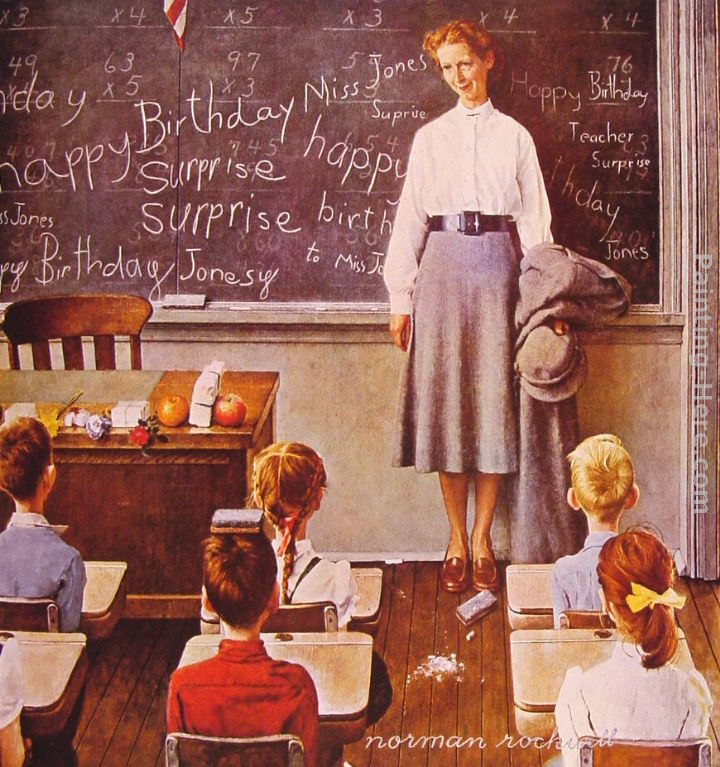"Norman Rockwell, ""Teacher's Birthday"""