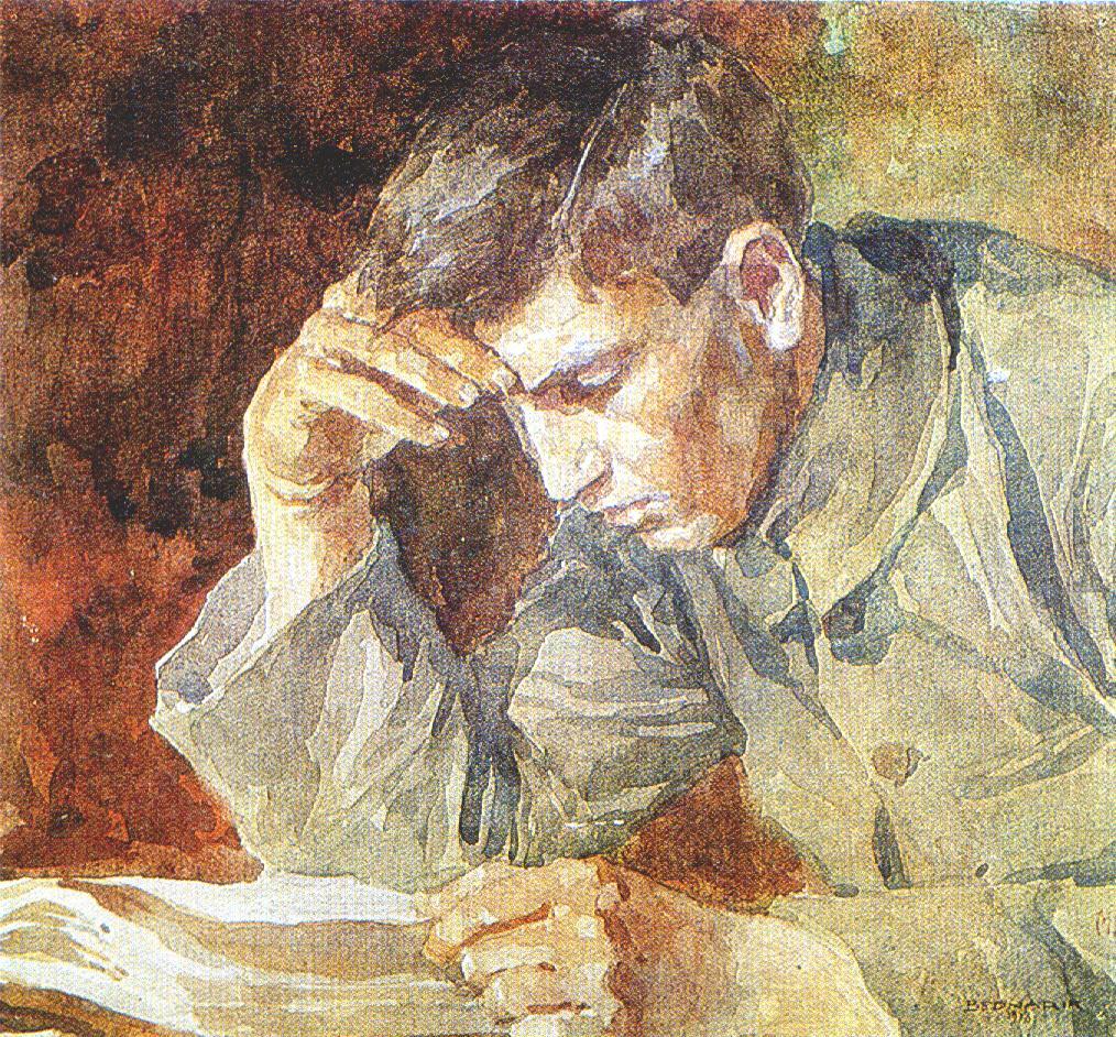 """Ignat Bednarik, """"Young Man Reading"""""""